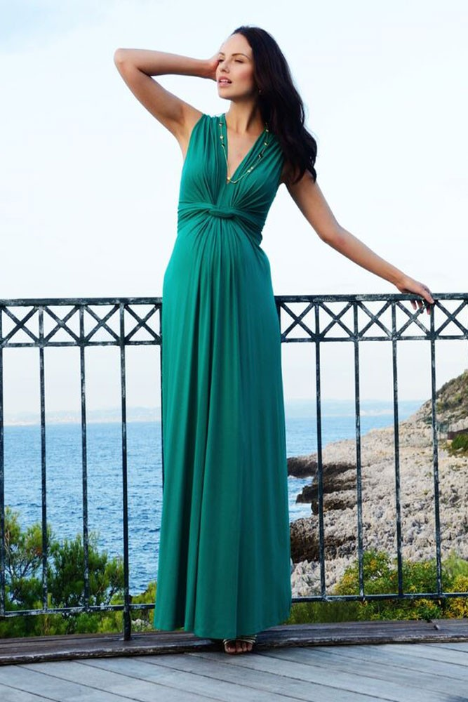 Seraphine Jo Knot Front Maxi Maternity Dress (Emerald)
