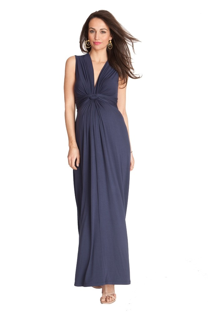 0382dbcbb458a Seraphine Jo Knot Front Maxi Maternity Dress in Navy