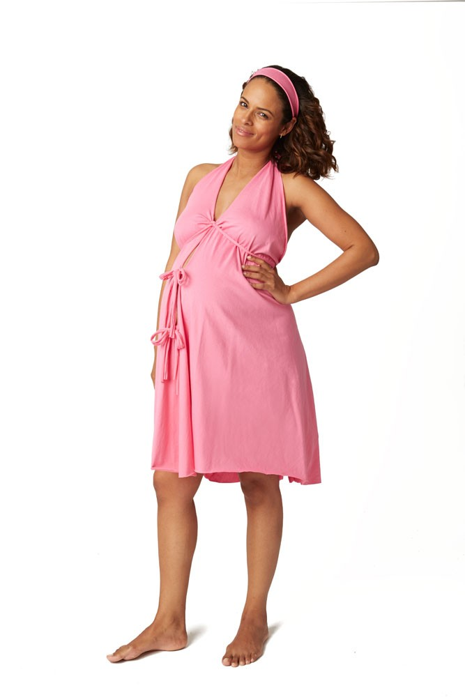 Pretty Pushers Women's Cotton Jersey Labor Gown- Plus Size (Hot Pink)