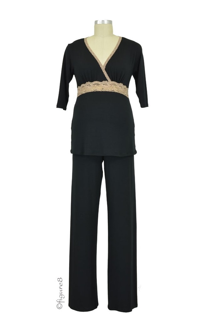 Baju Mama Emma 3/4 Sleeve Nursing PJ Set (Black/Cream Lace)