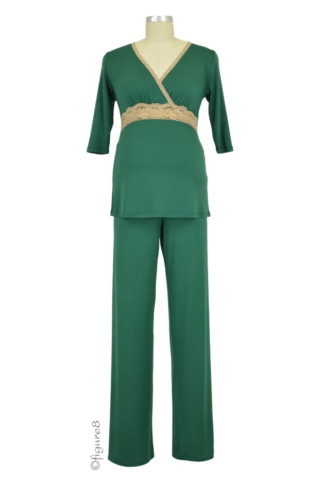 Baju Mama Emma 3/4 Sleeve Nursing PJ Set (Hunter Green/Cream Lace)