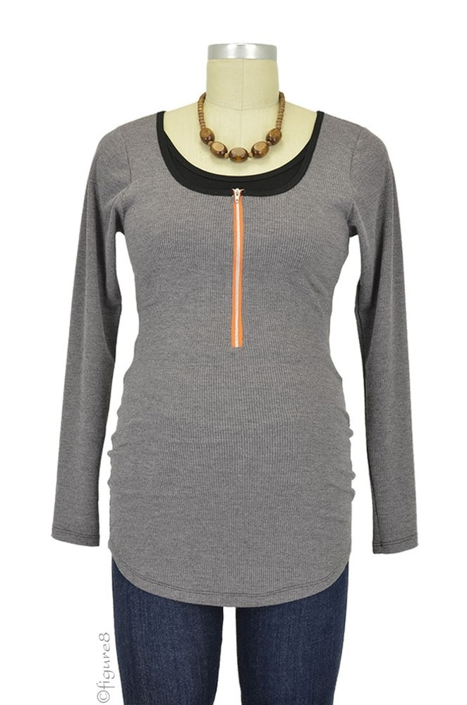 Molly Ades Long Sleeve Zippered Nursing Top (Charcoal Waffle Knit)