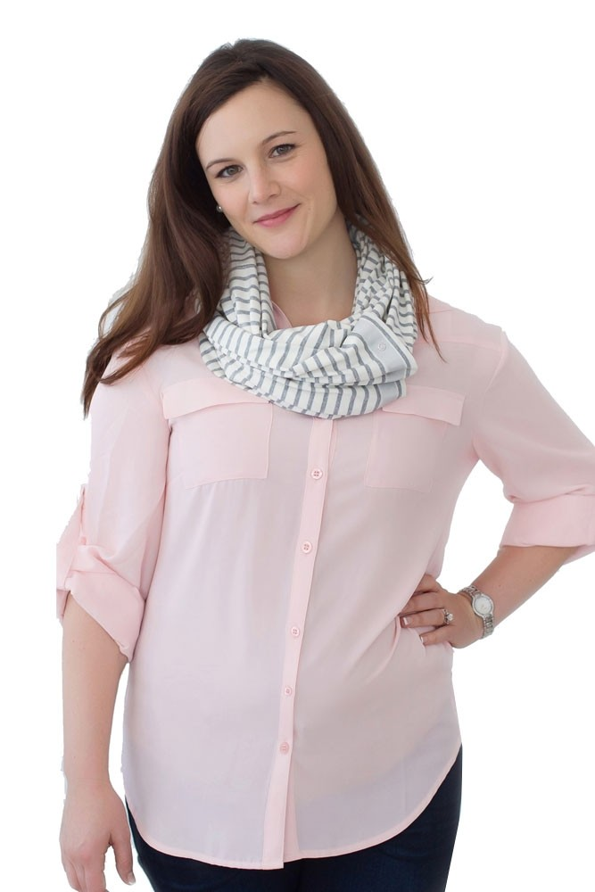 NuRoo Nursing Scarf (Gray Stripe)