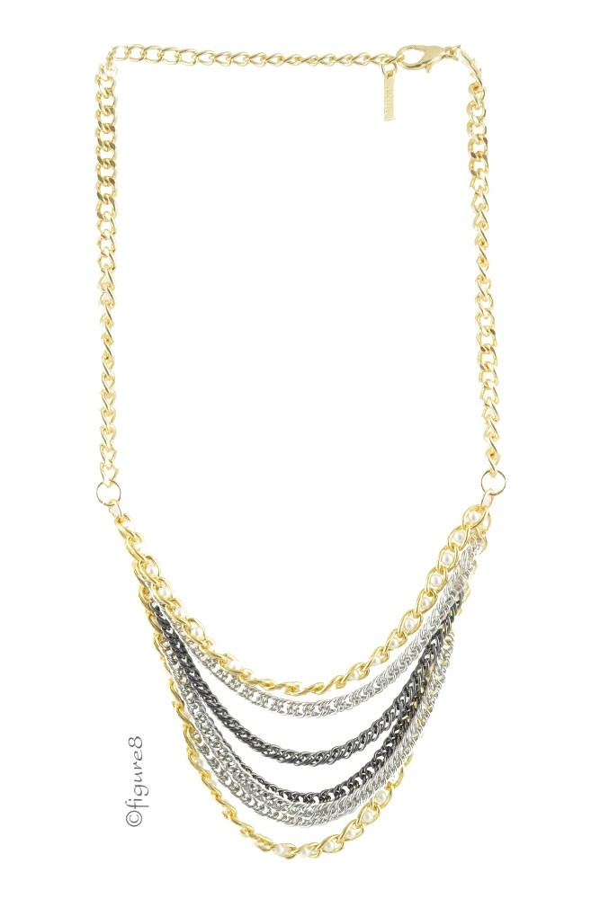 Dakota Gold Drape Necklace (Gun Metal)