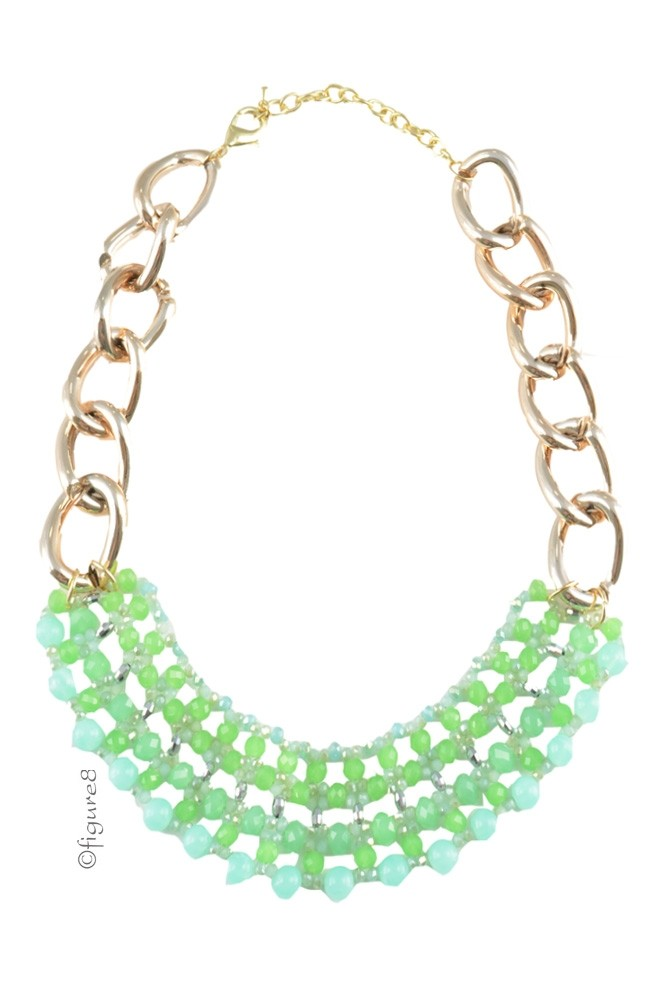 Katie Green Chain Necklace (Green)