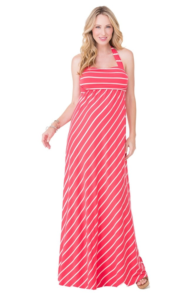 Ingrid & Isabel Stripes Convertible Maxi Maternity Dress (Poppy Stripes)