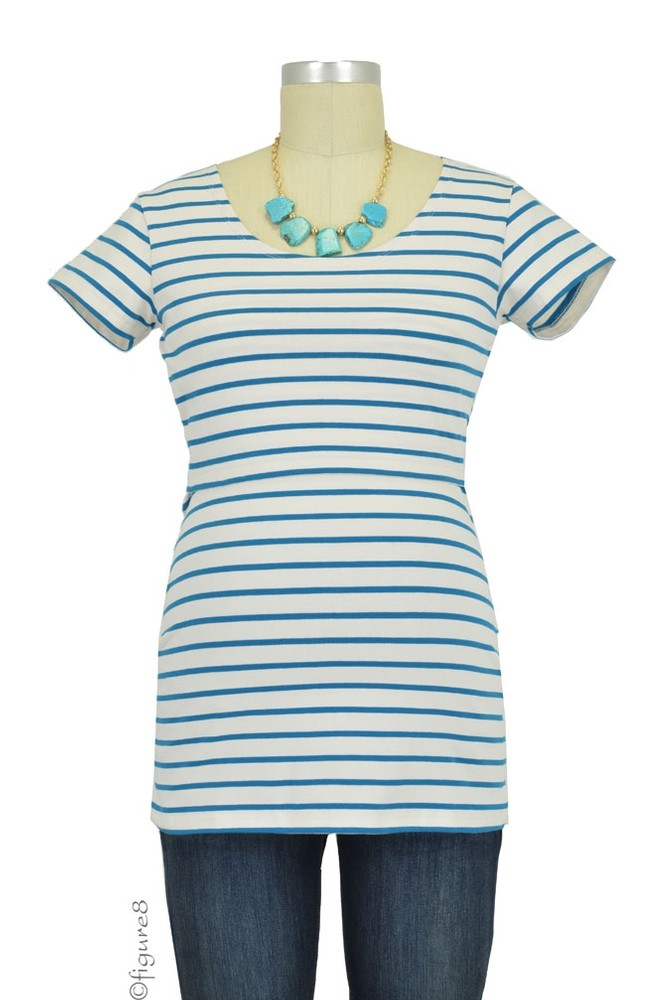 Boob Lois Organic Nursing Top (Turkish Blue and Cream Stripes)