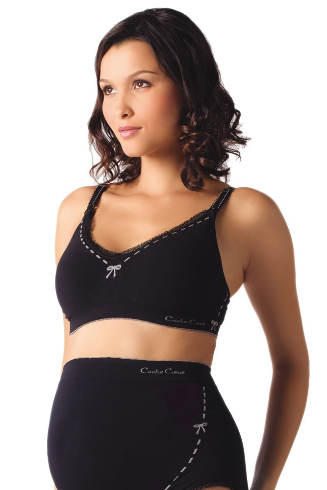 Cache Coeur Illusion Seamless Nursing Bra (Black)