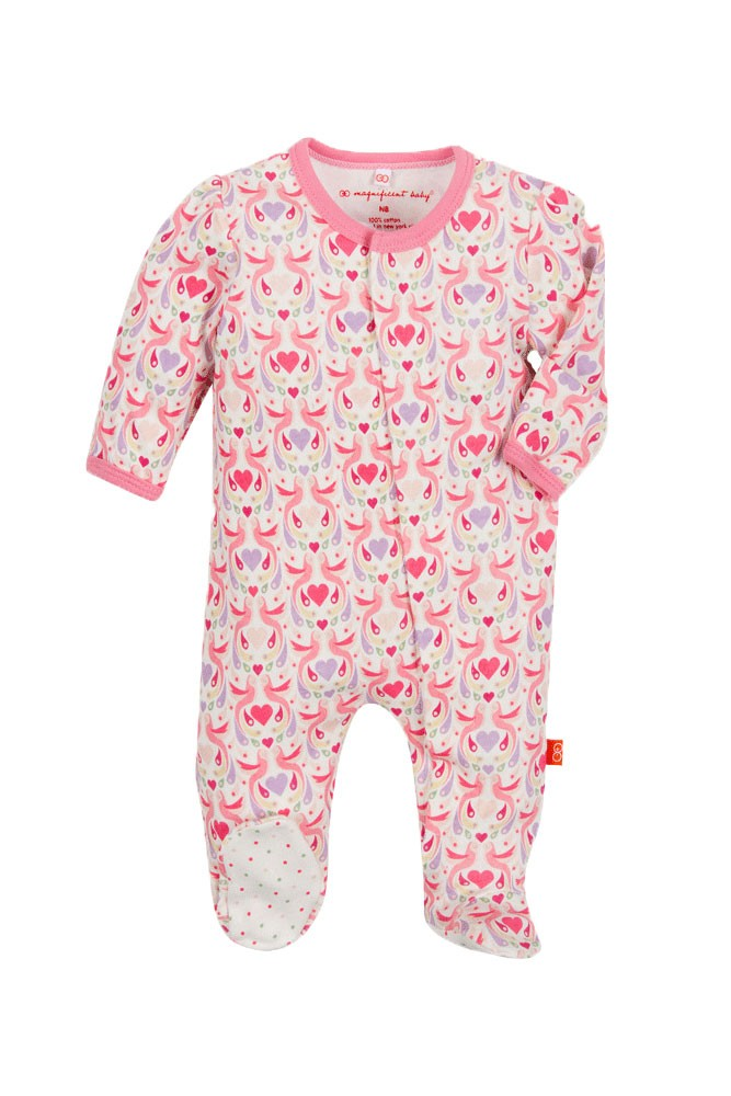 Magnificent Baby Magnetic Me™ Baby Girl Dot Footie (Love Birds)
