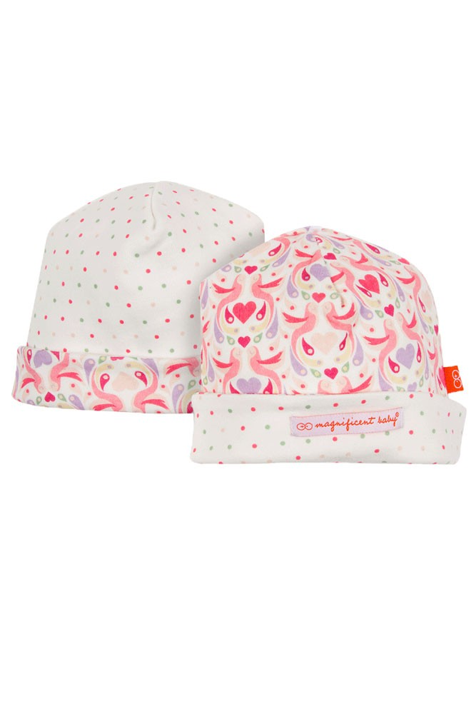 Magnificent Baby Magnetic Me™ Reversible Baby Girl Cap (Love Birds)