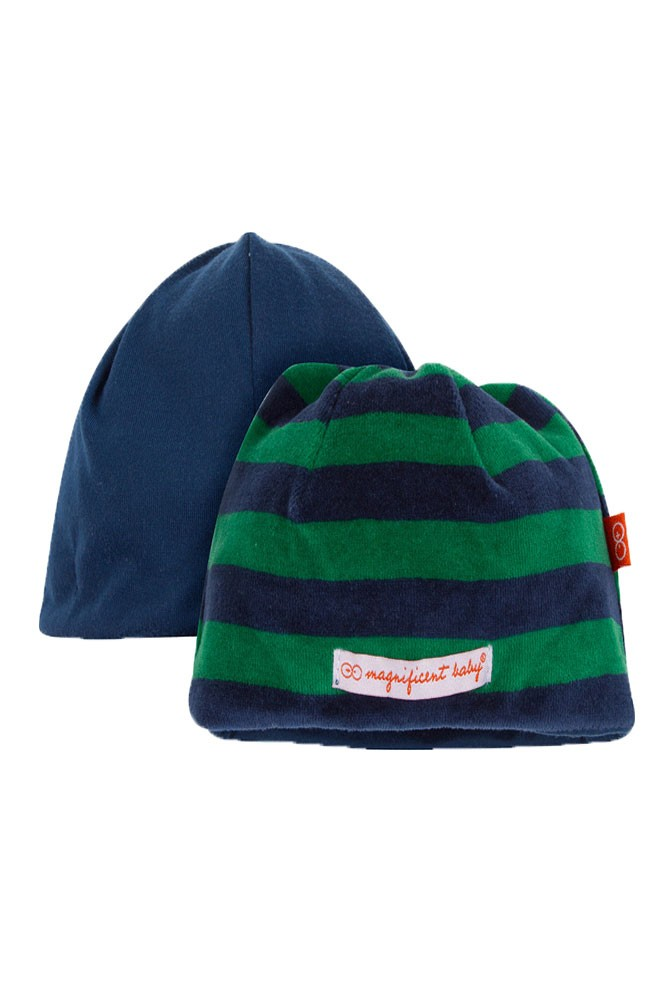 Magnificent Baby Magnetic Me™ Reversible Baby Boy Velour Cap (Green/ Navy Stripes)