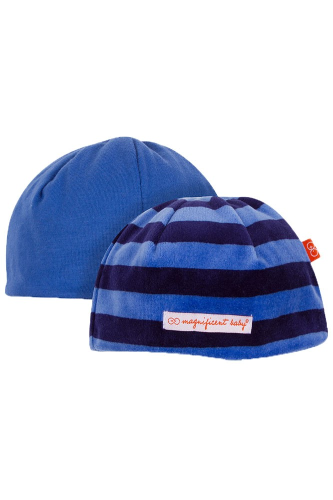 Magnificent Baby Reversible Baby Boy Velour Cap (Midnight/Sky Stripes)