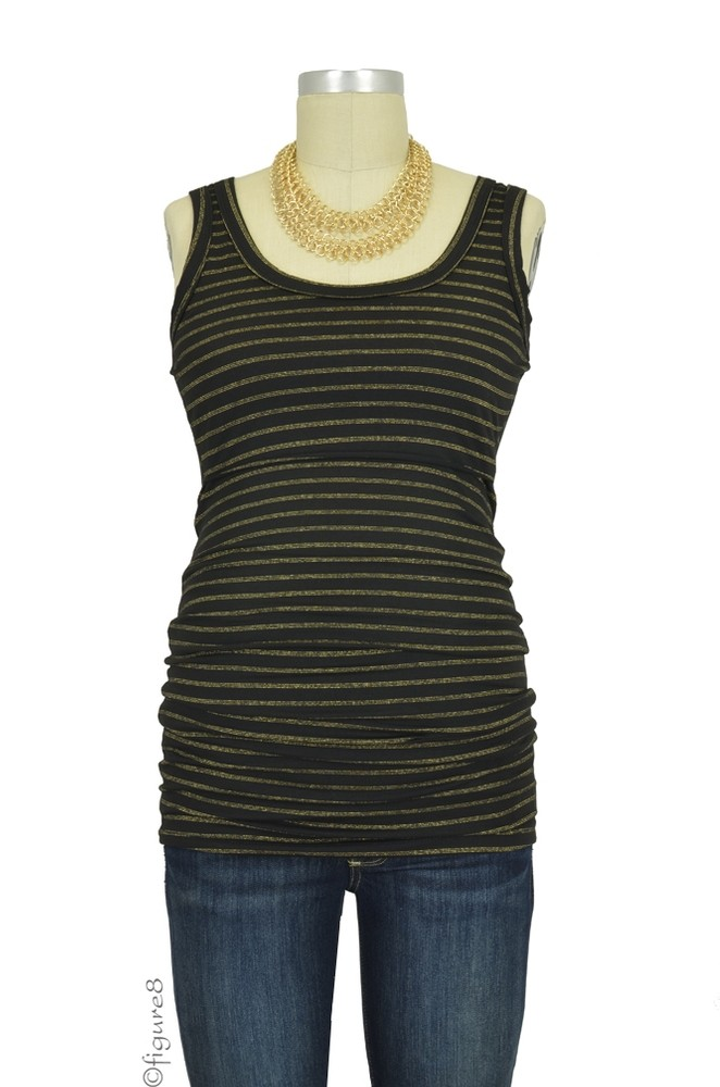 Sasha Classic Stripes Nursing Tank (Black with Gold Sparkle)