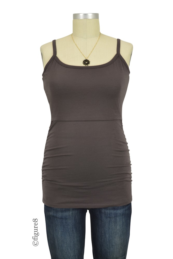 Boob Design Flatter Me Ruched Maternity & Nursing Singlet (Pip (Cocoa Brown))