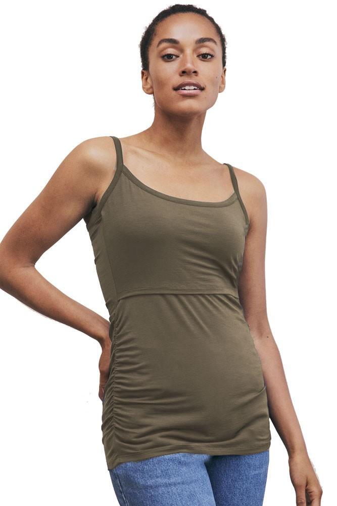 24e8e66c7dd36 ... Basic Maternity Tees and Tanks. Infinite Fit. Boob Design Flatter Me  Ruched Maternity & Nursing Singlet (Dusty Olive)