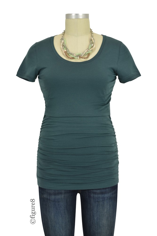 Boob Design Flatter Me Short Sleeve Ruched Maternity & Nursing Top (Teal)