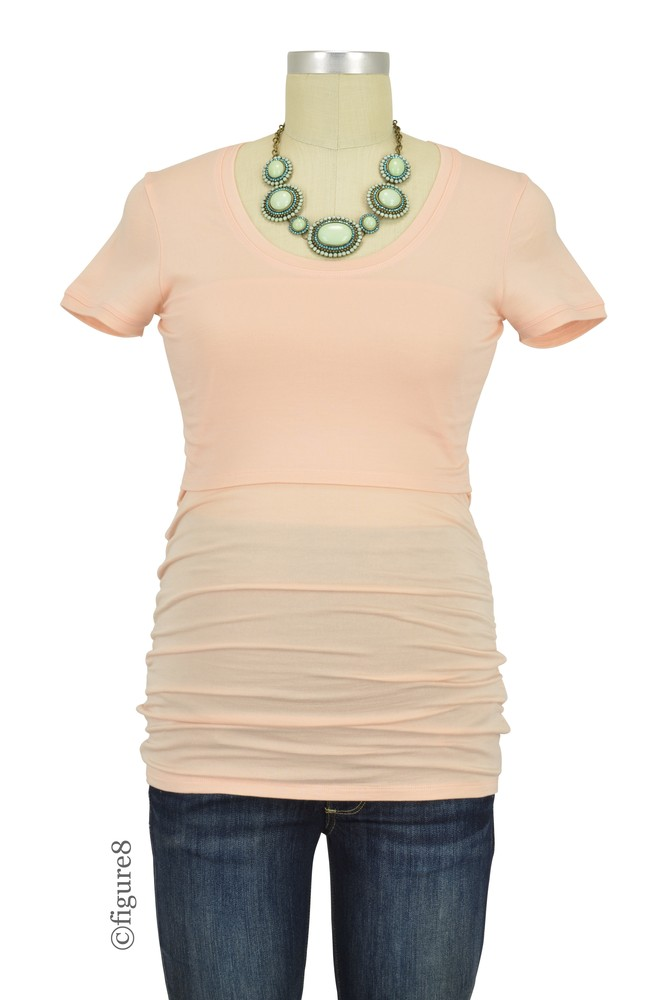 Boob Design Flatter Me Short Sleeve Ruched Maternity & Nursing Top (Pale Blush)