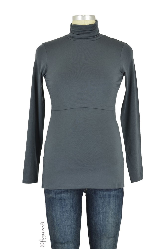 Boob Design Elise Polo Neck Nursing Top (Graphite Grey)