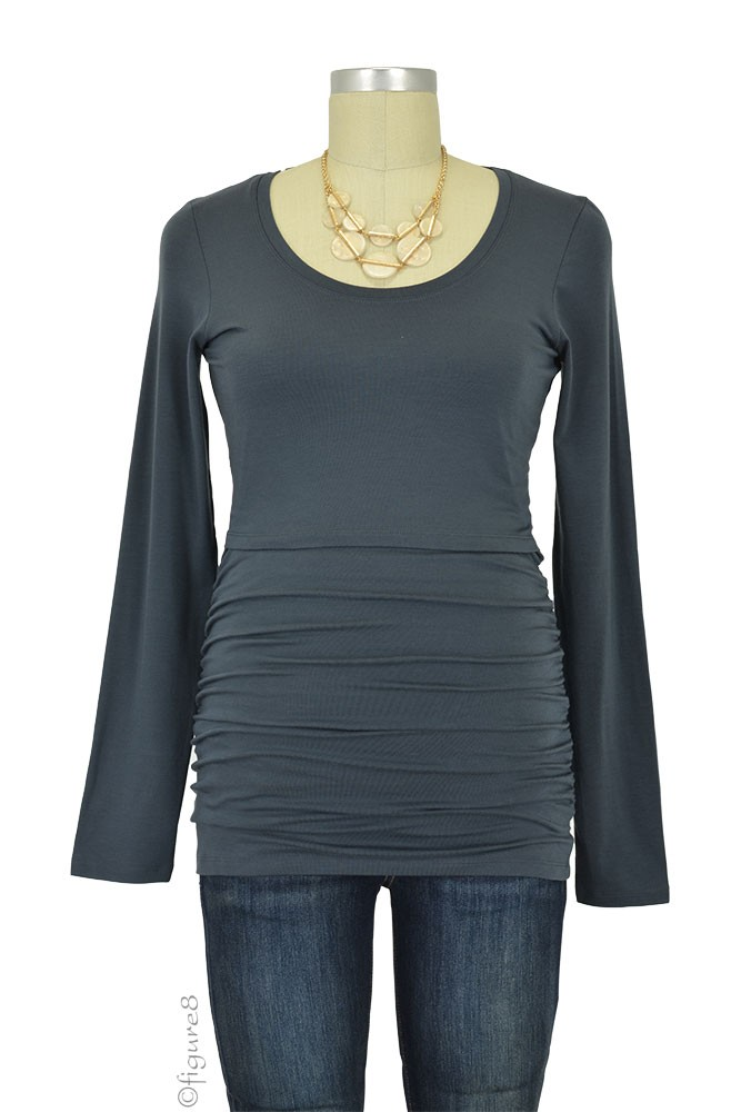 Boob Cloe Ruched Long Sleeve Nursing Top (Graphite Grey)