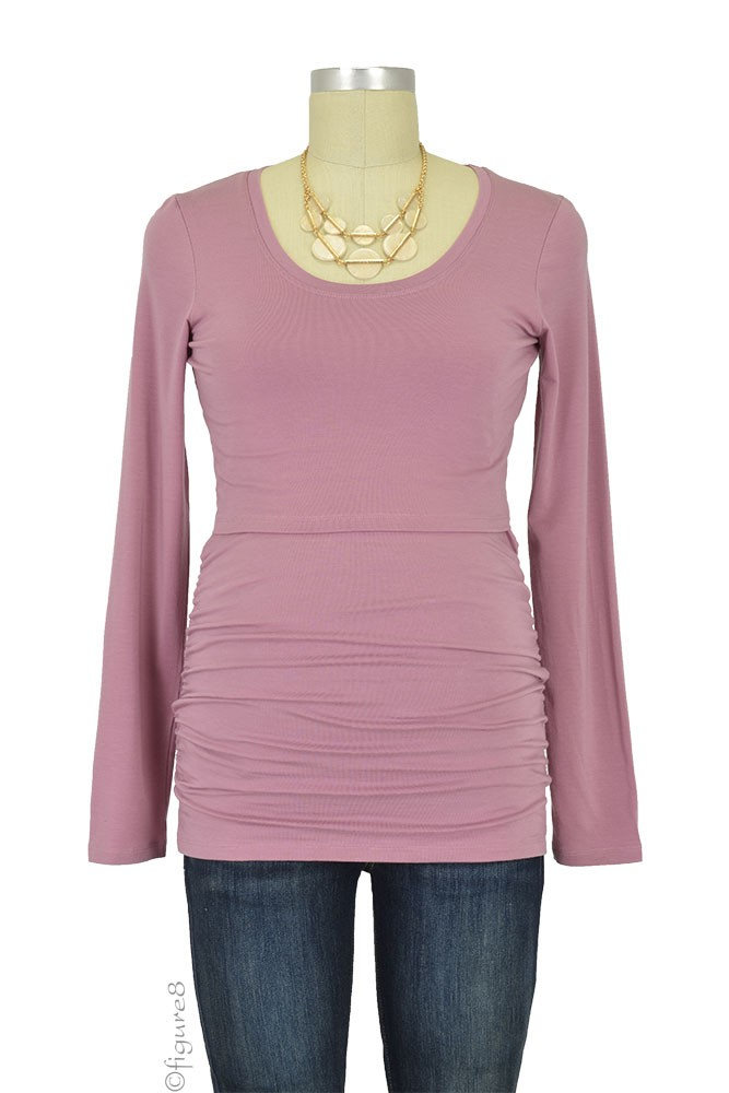 Boob Cloe Ruched Long Sleeve Nursing Top (Rainy Rose)