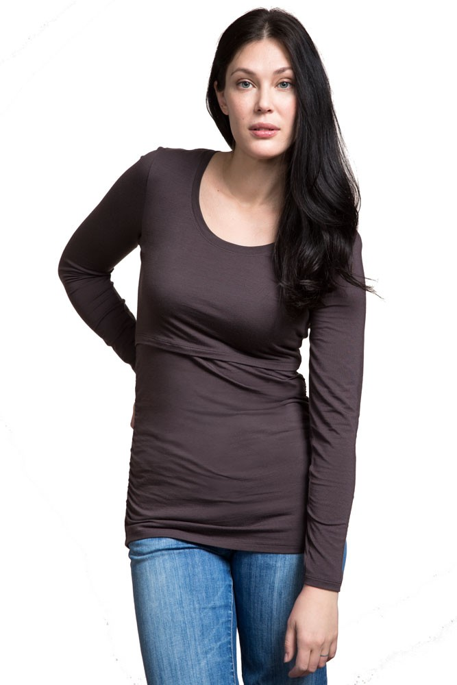 Boob Design Flatter Me Ruched Long Sleeve Maternity & Nursing Top (Pip (Cocoa Brown))