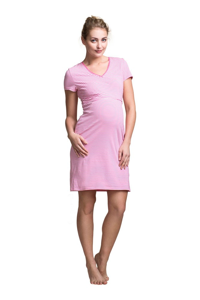 Boob Design Organic Cotton Nursing Night Dress (Stripe Offwhite/Sweet Fuchsia)