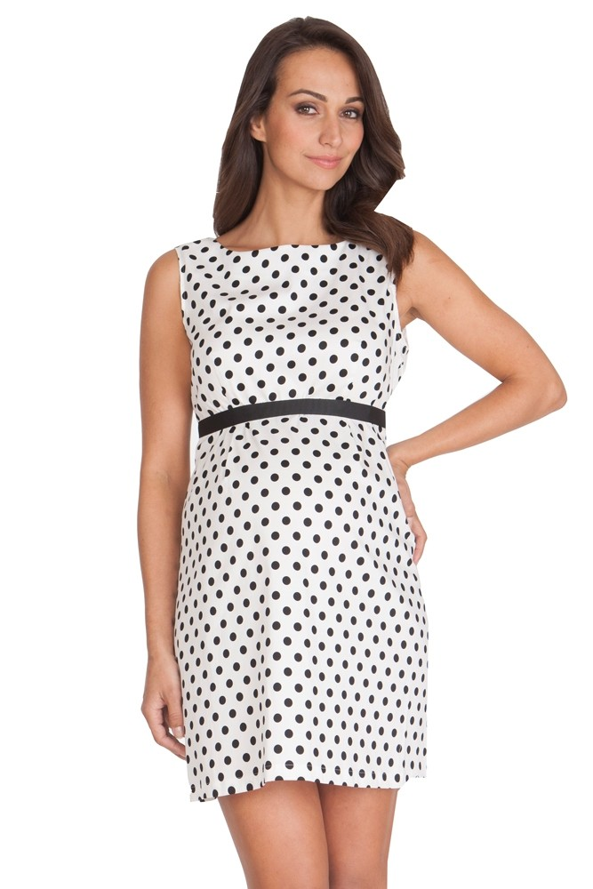 Seraphine Martina Polka Dot Maternity Dress (Black & Ivory Dot)