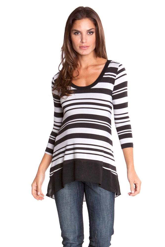 Olian Lori Maternity Top In Grey Amp Black Stripes
