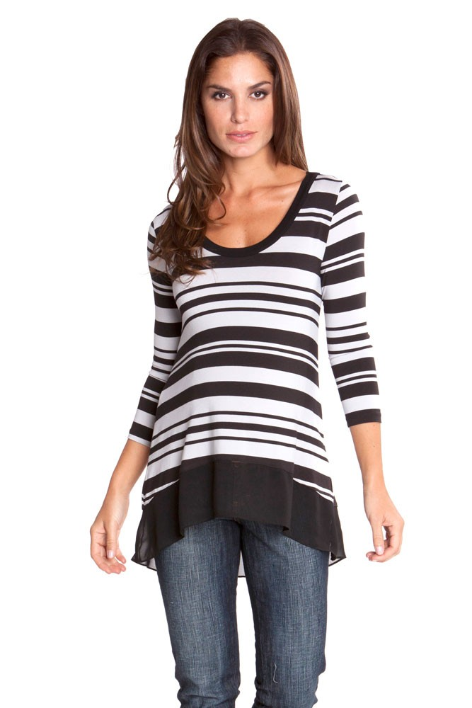 Lori Maternity Top (Grey & Black Stripes)