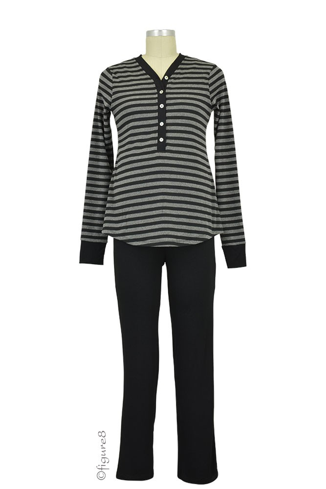 Cayden 2-pc. Nursing PJ Set (Black Stripes)
