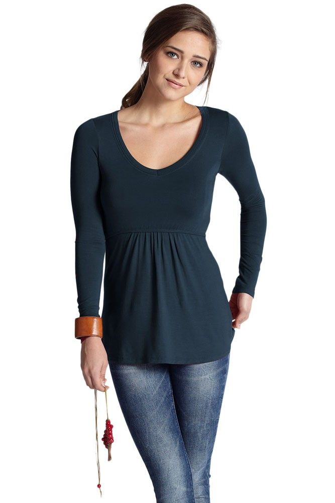 Mothers en Vogue Must-Have Organic Long Sleeve V-Neck Nursing Tee (Mood Indigo)