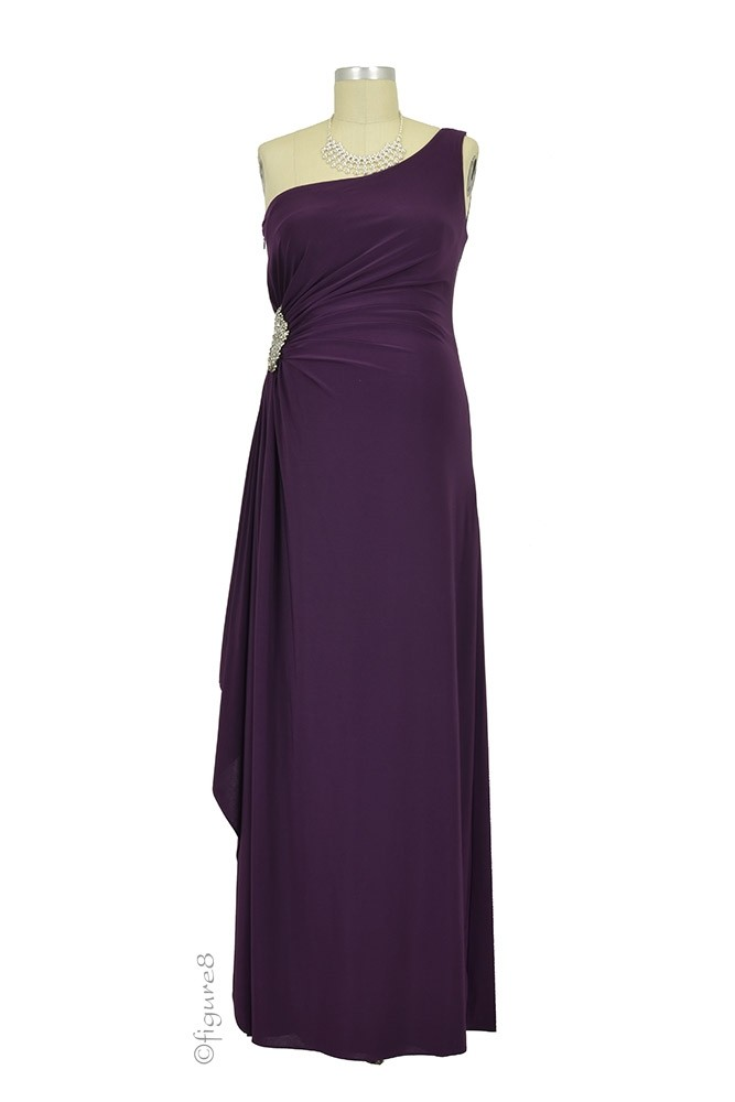 Olivia One-Shoulder Maternity Gown (Plum)