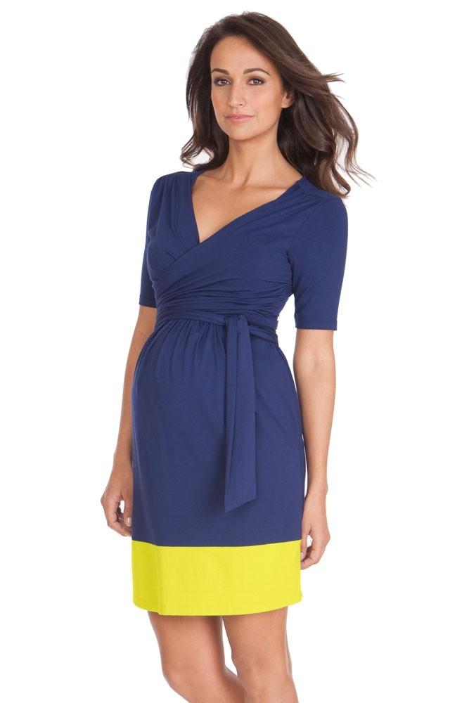 Seraphine Enja Wrap Maternity & Nursing Dress in Blue & Neon