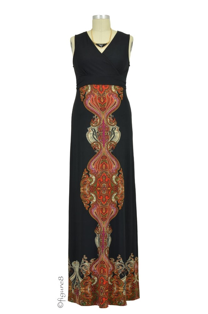 Anika Border Print Maxi Nursing Dress (Black Paisley Print)