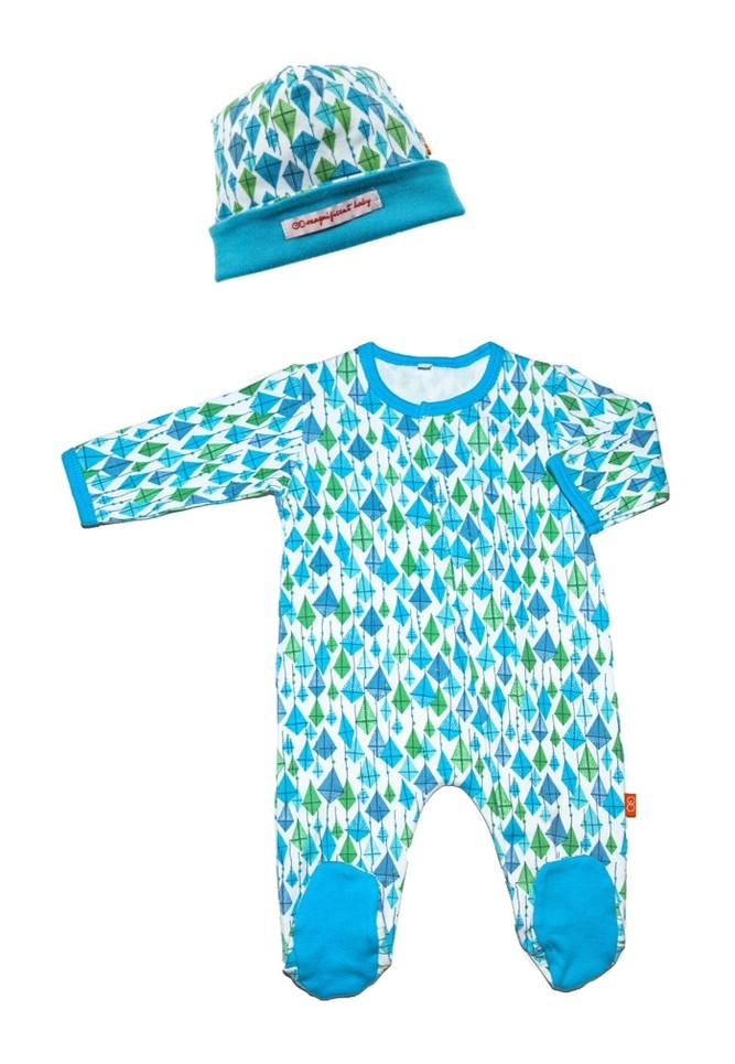 Magnificent Baby Boy's Footie and Reversible Cap Set (Blue Kites)