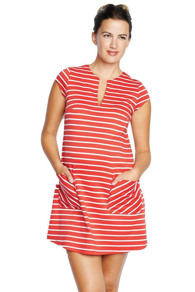 Camila Ponte Maternity Shift Dress with Pockets (Red Stripes)