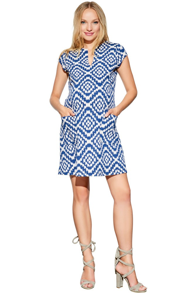 ab17c7ca37c Camila Ponte Maternity Shift Dress with Pockets in Navy Tapestry by ...