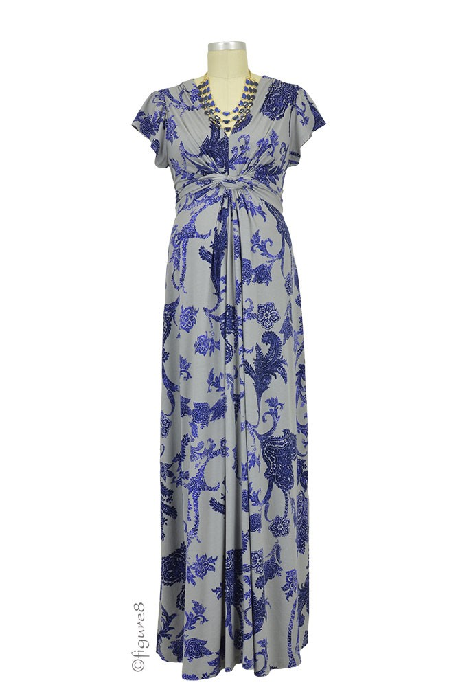 Seraphine Ophelia Knot Front Maternity Maxi Dress (Blue Paisley)