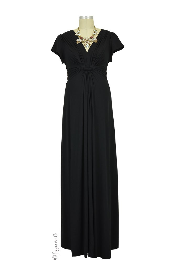Seraphine Ophelia Knot Front Maternity Maxi Dress (Black)
