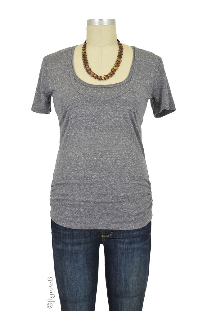 Bun Tri-Blend Cozy Maternity & Nursing Tee (Charcoal Black)