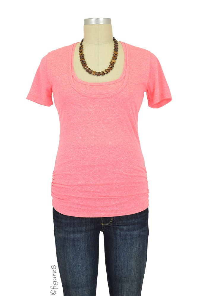 Bun Tri-Blend Cozy Maternity & Nursing Tee (Heathered Pink)