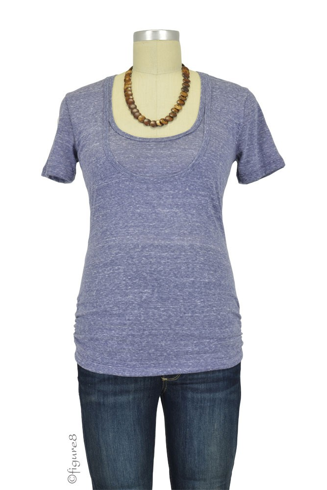 Bun Tri-Blend Cozy Maternity & Nursing Tee (Navy)