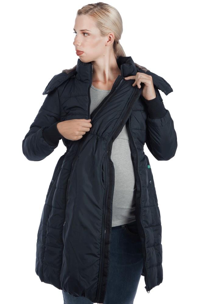 Neve 3 In 1 Knee Length Maternity Coat In Black By Modern