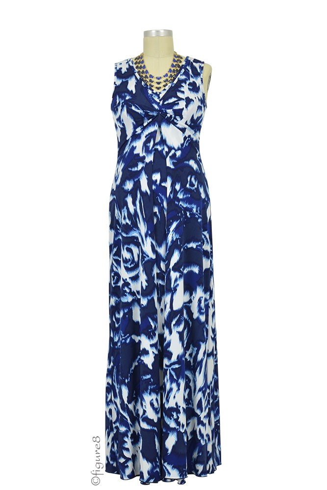 Ella Maxi Nursing Dress (Navy & White Ikat)