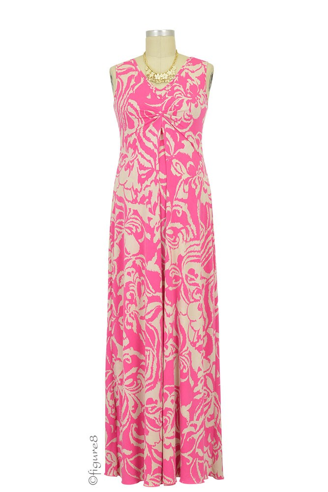 Ella Maxi Nursing Dress (Pink & Cream Ikat)