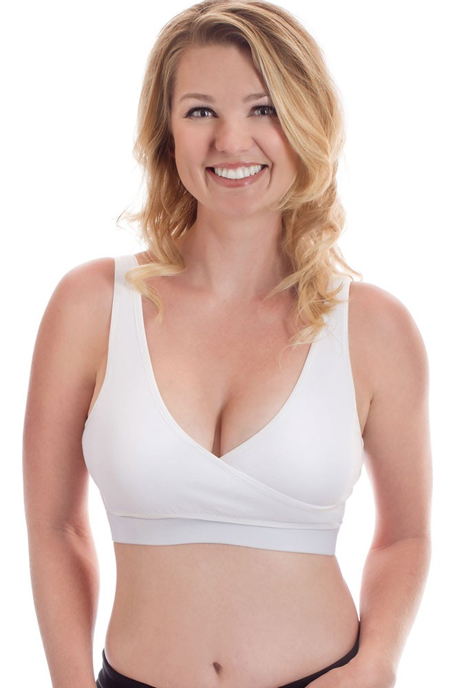 Rumina Classic Crossover Hands-Free Pump & Nurse Bra with Adjustable Back Clasp (White)