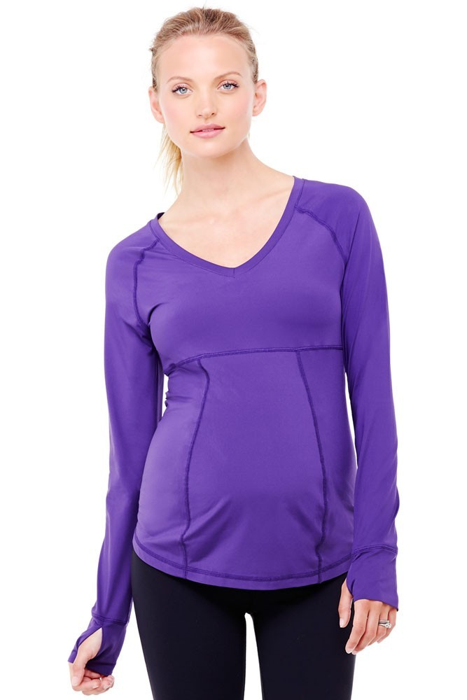 Ingrid & Isabel Long Sleeve Active Maternity Top (Royal Purple)