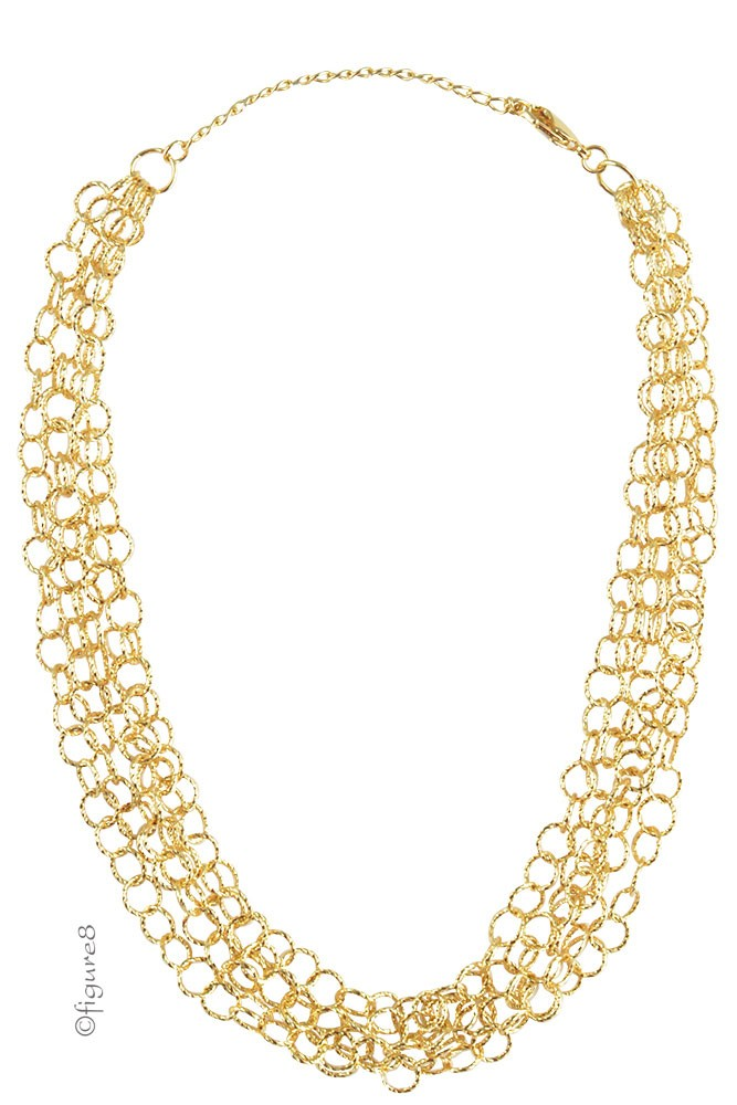 Christina Mini Ring Chain Necklace (Gold)