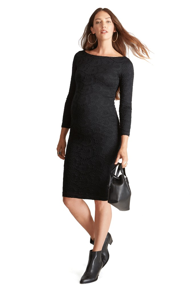 Ingrid & Isabel Boatneck Lace Maternity Dress (Black)