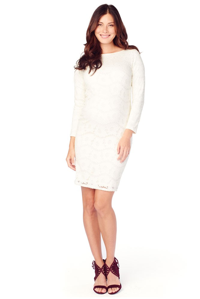 Ingrid & Isabel Boatneck Lace Maternity Dress (Ivory)